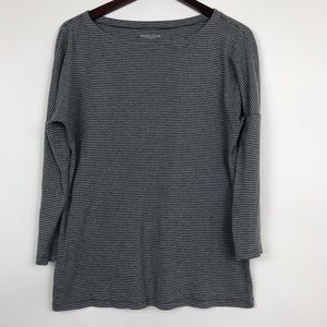 Eileen Fisher  Size Medium Blouse Gray Striped